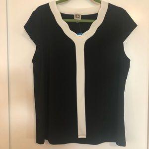 New Anne Klein Black & White Top - Size XL